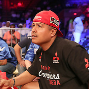 NEW ORLEANS, LA - JULY 14:  Trainer Robert Garcia watches as Erick DeLeon fights Adrian Young during the Regis Prograis v Juan Jose Velasco ESPN boxing match at the UNO Lakefront Arena on July 14, 2018 in New Orleans, Louisiana.  (Photo by Alex Menendez/Getty Images) *** Local Caption *** Adrian Young; Erick DeLeon; Robert Garcia
