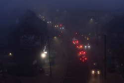 © Licensed to London News Pictures. 05/11/2020. London, UK. Cars drive through early morning fog weather on the first day of a 2nd national Covid-19 lockdown.  Photo credit: London News Pictures