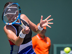 March 26, 2018 - Miami, Florida, United States - Garbine Muguruza, from Spain, in action against Sloane Sephens, from the USA, during her third roun match at the Miami Open in Key Biscayne in Key Biscayne, on March 26, 2018. (Credit Image: © Manuel Mazzanti/NurPhoto via ZUMA Press)