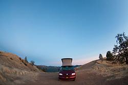 Big Red Volkswagen Eurovan at Plaskett Ridge, Los Padres National Forest, Big Sur, California, US