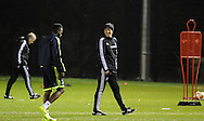 Swansea Manager Garry Monk in relaxed mood during Swansea city FC team training in Landore, Swansea, South Wales on Wed 19th Feb 2014. the team are training ahead of tomorrow's UEFA Europa league match against Napoli.<br /> pic by Phil Rees, Andrew Orchard sports photography.