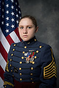 Cadet Colonel Kathryn Christmas poses for her official portrait as Regimental Commander of the South Carolina Corps of Cadets on May 3, 2021.<br /> <br /> Credit: Cameron Pollack / The Citadel