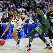Moriah Jefferson, (left), UConn, defended by Alisia Jenkins, USF,  during the UConn Huskies Vs USF  2016 American Athletic Conference Championships Final. Mohegan Sun Arena, Uncasville, Connecticut, USA. 7th March 2016. Photo Tim Clayton