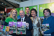 NO FEE PICTURES<br /> 23/1/16 Minister for Tourism Michael Ring and Maureen Ledwith, organiser of the Holiday World Show at the Boyne Valley stand at the Holiday World Show at the RDS in Dublin. Picture: Arthur Carron