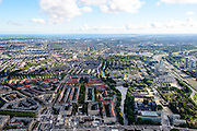 Nederland, Noord-Holland, Amsterdam, 27-09-2015; Amsterdam-Zuid, overzicht vanaf Amstelveenseweg, Stadionplein. Stadionweg (links), Zuider Amstelkanaal en Zuid-as (rechts)<br /> Amsterdam (Old) South neighbourhood, overview.<br /> luchtfoto (toeslag op standard tarieven);<br /> aerial photo (additional fee required);<br /> copyright foto/photo Siebe Swart