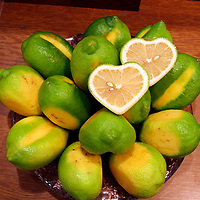 Asia, Japan, Tokyo. Display of fresh heart shaped limes in the food halls of a Deparment store on the Ginza.