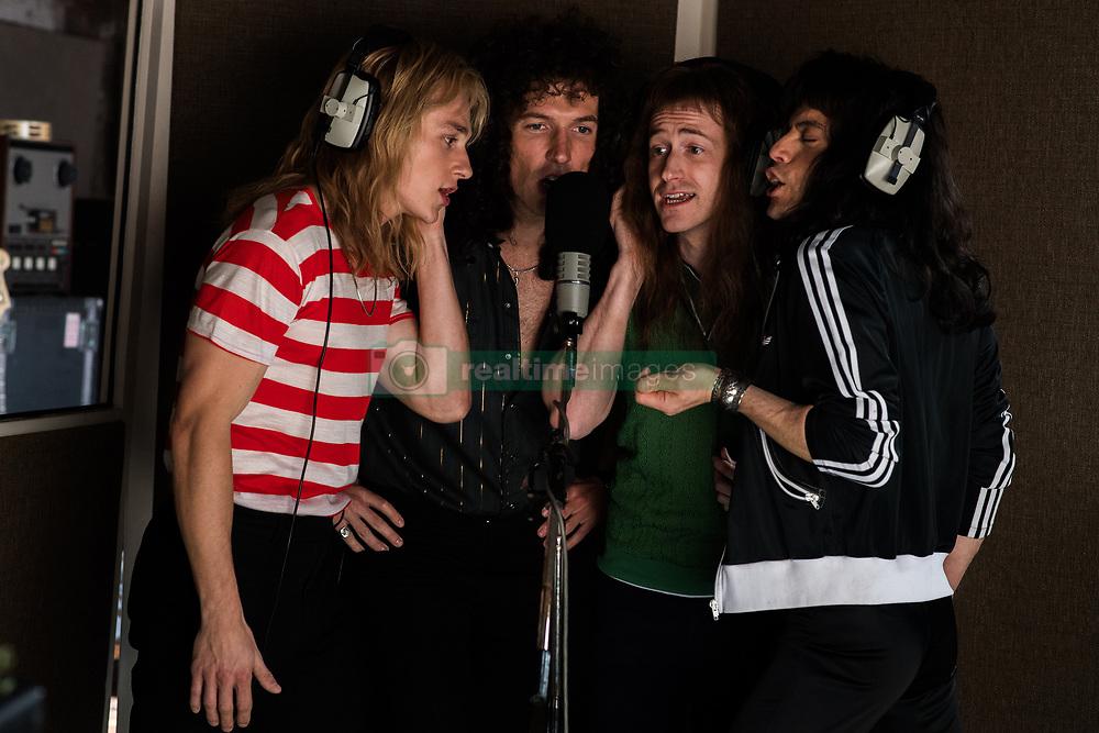 Ben Hardy (Roger Taylor), Gwilym Lee (Brian May), Joe Mazzello (John Deacon), and Rami Malek (Freddie Mercury) star in Twentieth Century Fox's BOHEMIAN RHAPSODY.