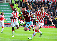 Johnathan Calleri of West Ham battles with Ryan Shawcross of Stoke city. Premier league match, Stoke City v West Ham Utd at the Bet365 Stadium in Stoke on Trent, Staffs on Saturday 29th April 2017.<br /> pic by Bradley Collyer, Andrew Orchard sports photography.
