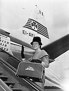 13/08/1960<br /> 08/13/1960<br /> 13 August 1960<br /> Miss Maeve McKenna, Fiesta Princess, Portadown, Co. Armagh, leaving by Aer Lingus Viscount aircraft for Paris on flight 522.