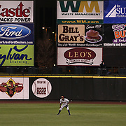 RailRiders outfielder Melky Mesa at centre field surrounded by advertising during the Rochester Red Wings V The Scranton/Wilkes-Barre RailRiders, Minor League ball game at Frontier Field, Rochester, New York State. USA. 16th April 2013. Photo Tim Clayton