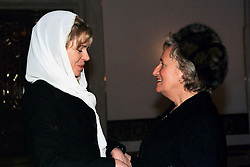 Queen Noor of Jordan receives Bernadette Chirac during King Hussein's funeral at the Royal palace in Amman, Jordan on February 8, 1999. Twenty years ago, end of January and early February 1999, the Kingdom of Jordan witnessed a change of power as the late King Hussein came back from the United States of America to change his Crown Prince, only two weeks before he passed away. Photo by Balkis Press/ABACAPRESS.COM