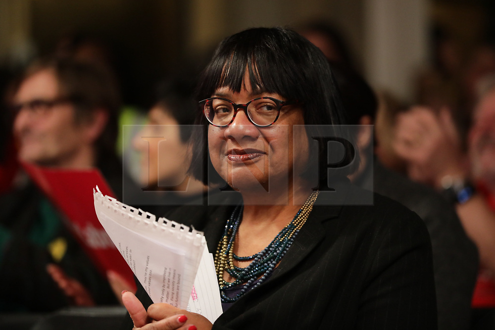 © Licensed to London News Pictures. 11/12/2019. London, UK. Shadow Home Secretary Diane Abbott at a rally in Hoxton, East London. Voters will head to polling stations tomorrow for the 2019 General Election. Photo credit: Rob Pinney/LNP