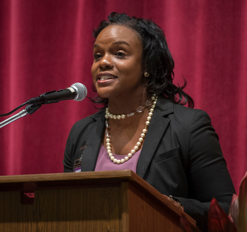 Felicia Adams comments during a renaming ceremony at Bob Lanier Middle School, September 21, 2016.