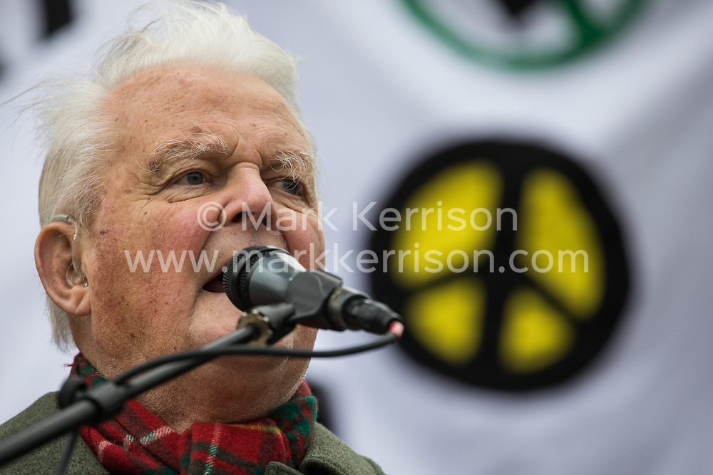 London, UK. 11 January, 2020. Bruce Kent, Vice-President of the Campaign for Nuclear Disarmament (CND), addresses the No War on Iran demonstration in Trafalgar Square organised by Stop the War Coalition and the Campaign for Nuclear Disarmament to call for deescalation in the Middle East following the assassination by the United States of Iranian General Qassem Soleimani and the subsequent Iranian missile attack on US bases in Iraq.