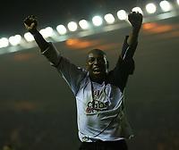 Fotball<br /> England 2004/2005<br /> Foto: SBI/Digitalsport<br /> NORWAY ONLY<br /> <br /> Middlesbrough v Fulham, Barclays Premiership, Riverside Stadium, Middlesbrough 19/04/2005.<br /> <br /> Fulham's Luis Boa Morte celebrates his team's first goal.