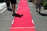 people walking beside the red carpet