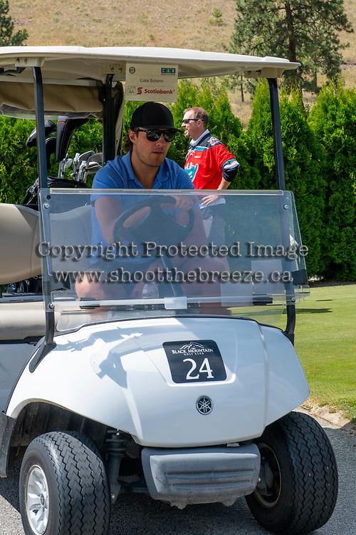 KELOWNA, CANADA - JULY 21: Alumni Luke Schenn drives a golf cart at the Kelowna Rockets Alumni golf tournament at Black Mountain Golf Club in Kelowna, British Columbia, Canada.  (Photo by Marissa Baecker/Shoot the Breeze)  *** Local Caption ***