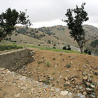 ..20th August 2007.Tora Bora.The ruins of what is thought to have been Osama Bin Ladens swimming pool at Tora Bora on the 20th August 2007. Tora Bora was one of the mountain hideouts of Osama Bin Laden and the Al-Qaeda fighters. It was destroyed during the battle of Tora Bora at the beginning of this recent conflict.  In the past weeks it has been the scene of a joint US and Afghan offensive against Taliban fighters who have moved back into the area...