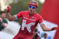Arrival, KRISTOFF Alexander (NOR) Katusha, winner, during the 7th Tour of Oman 2016, Stage 3, Al Sawadi Beach - Naseem Park (176,5Km), on February 18, 2016 - Photo Tim de Waele / DPPI