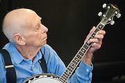 """Bob Martin, """"Banjo Bob"""", playing for seniors at assisted living facility"""