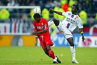 Fotball<br /> Frankrike 2004/05<br /> Lyon v Monaco<br /> 25. september 2004<br /> Foto: Digitalsport<br /> NORWAY ONLY<br /> MAHAMADOU DIARRA (LYON) / MOHAMED KALLON (MON)