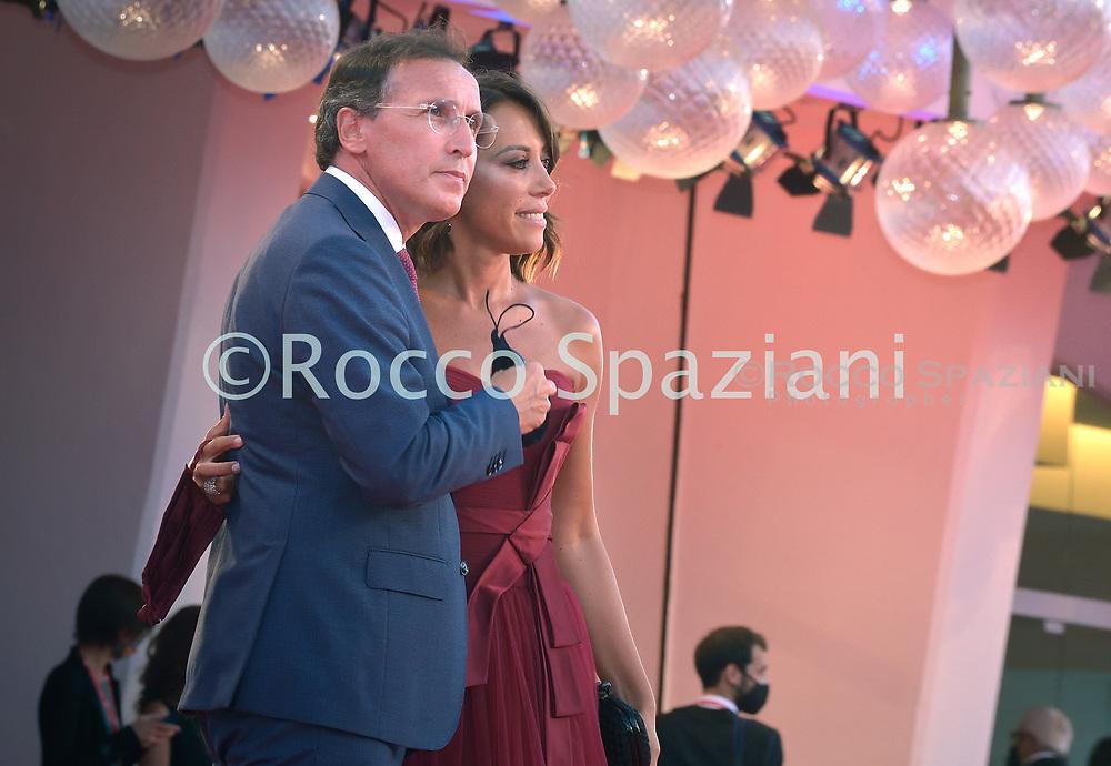 "VENICE, ITALY - SEPTEMBER 04: Francesco Boccia ,Nunzia De Girolamo walks the red carpet ahead of the movie ""Padrenostro"" at the 77th Venice Film Festival at on September 04, 2020 in Venice, Italy."