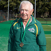 Douglas Corbett, Australia, Semi Finalist,  80 Mens Singles competition during the 2009 ITF Super-Seniors World Team and Individual Championships at Perth, Western Australia, between 2-15th November, 2009