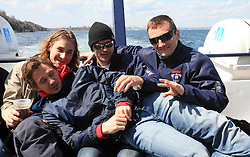 Boris Pretnar, Robert Kristan, Marcel Rodman and Miha Rebolj at whale watching boat when some guys  were celebrating an anniversary of playing for Slovenian National Team for 100 (120) times, during IIHF WC 2008 in Halifax,  on May 07, 2008, sea at Halifax, Nova Scotia,Canada.(Photo by Vid Ponikvar / Sportal Images)