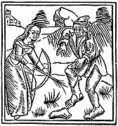 Witch shooting a man in the foot with an enchanted arrow made from a hazel wand. From Ulrich Molitor 'De Laniis et phitonicis mulieribus', Constance, 1489. Woodcut.