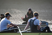 Putney, London,  Tideway Week, Championship Course. River Thames, OUBC, Oxford, Cheif Coach, Sean BOWDEN, talking to the crew,<br /> <br /> Bow: William Warr, 2: Matthew O'Leary – USA, 3: Oliver Cook, 4: Joshua Bugaski, 5: Olivier Siegelaar – NED, 6: Michael DiSanto – USA. 7: James Cook , Stroke: Vassilis Ragoussis and Cox: Sam Collier – <br /> <br /> Tuesday  28/03/2017<br /> [Mandatory Credit; Credit: Peter Spurrier/Intersport Images.com ]