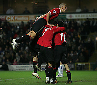 Photo: Paul Thomas.<br /> Blackburn Rovers v Manchester United. The Barclays Premiership. 11/11/2006.<br /> <br /> Man Utd and Louis Saha celebrate his goal.