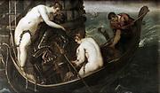 The Rescue of Arsinoe' 1560. Oil on canvas.  Arsinoe (c68-41 BC) Ancient Egyptian priencess, half-sister of Cleopatra. In 48 BC she escaped Alexandria with the eunuch Ganymede. Tintoretto (Jacopo Comin 1518-1594) Italian painter.