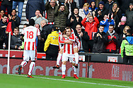 Xherdan Shaqiri of Stoke City (c) celebrates with his teammates after scoring his teams 1st goal to make it 1-1. Premier league match, Stoke City v Leicester City at the Bet365 Stadium in Stoke on Trent, Staffs on Saturday 4th November 2017.<br /> pic by Chris Stading, Andrew Orchard sports photography.