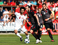 Fotball<br /> Albania v Qatar<br /> Foto: Gepa/Digitalsport<br /> NORWAY ONLY<br /> <br /> HARTBERG,AUSTRIA,29.MAY.16 - SOCCER - UEFA European Championship 2016 in France, preview, international match, Albania vs Qatar, friendly match. Image shows Mohamed El Sayed (QAT) and Shkelzen Gashi (ALB).