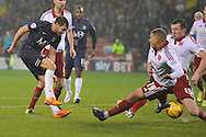 Southend United midfielder Will Atkinson shoots at goal during the Sky Bet League 1 match between Sheffield Utd and Southend United at Bramall Lane, Sheffield, England on 14 November 2015. Photo by Ian Lyall.