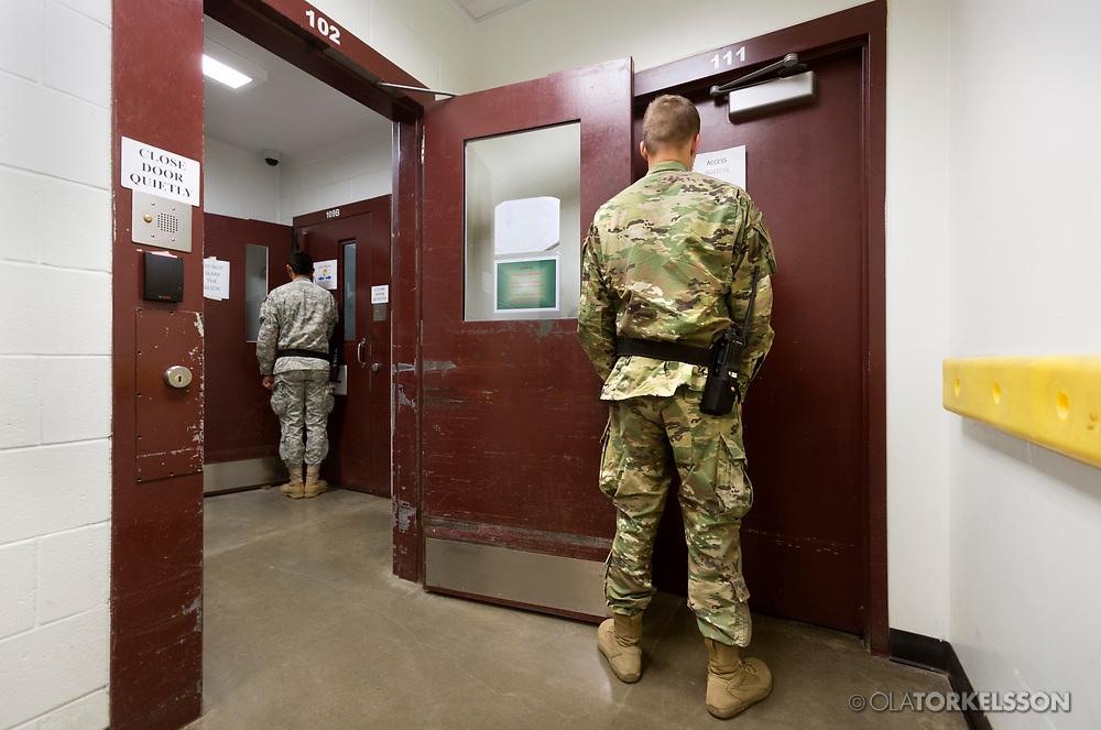 Guantanamo Bay, Cuba, Jan 2017.<br /> This is a picture of a guard at the prison. At Guantanamo you are under military censorship and you are not allowed to use a picture clearly identifying prisoners and guards so pictures of the prisoners or guards are backs or silhouettes. Every day the military go through your pictures and delete the once that are not approved.<br /> Photo by Ola Torkelsson <br /> Copyright Ola Torkelsson ©