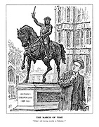 """The March of Time. """"What! Still having trouble in Palestine?"""" (The statue of Richard I - Coeur de Lion, speaks to Secretary of State for the Colonies, Malcolm MacDonald infront of the Houses of Parliament)"""