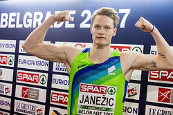 Luka Janezic of Slovenia after he competed in the Men's 400 metres heats on day one of the 2017 European Athletics Indoor Championships at the Kombank Arena on March 3, 2017 in Belgrade, Serbia. Photo by Vid Ponikvar / Sportida