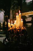 Candles in a church in Prague, Czech Republic