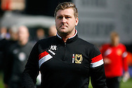 MK Dons Manager Karl Robinson walks to the dugout before kick off .Skybet football league championship match, Fulham  v Milton Keynes Dons at Craven Cottage in London on Saturday 2nd April 2016.<br /> pic by Steffan Bowen, Andrew Orchard sports photography.