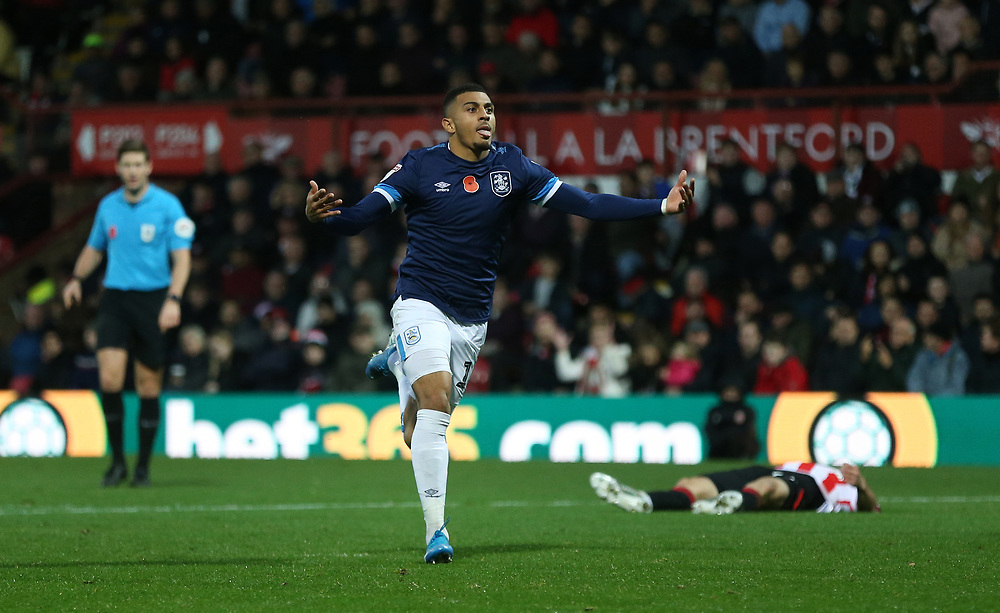 Huddersfield Town's Karlan Grant celebrates scoring his side's first goal <br /> <br /> Photographer Rob Newell/CameraSport<br /> <br /> The EFL Sky Bet Championship - Brentford v Huddersfield Town - Saturday 2nd November 2019 - Griffin Park - Brentford<br /> <br /> World Copyright © 2019 CameraSport. All rights reserved. 43 Linden Ave. Countesthorpe. Leicester. England. LE8 5PG - Tel: +44 (0) 116 277 4147 - admin@camerasport.com - www.camerasport.com