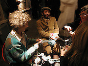 Shane Waltener with his 'Knitting Piece No 13. London'. AMNESTY INTERNATIONAL EXHIBITION 'IMAGINE A WORLDÉ  WITHOUT VIOLENCE AGAINST WOMEN' Bargehouse Gallery. Oxo Tower. <br />