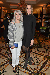 Left to right, PIPS TAYLOR and LAURA PRADELSKA at a dinner hosted by Amy Molyneaux and Percy Parker of fashion label PPQ to celebrate the PPQ AW 2015 collection 'Persephone' held at Braserie Chavot, 41 Conduit Street, London on 22nd February 2015.