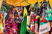 Jamaican bags and souvenir for sale in beach tent shop, Negril, Jamaica