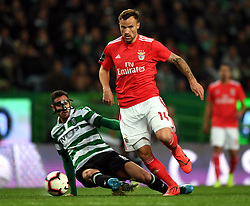 LISBON, Feb. 4, 2019  Haris Seferovic (R) of Benfica vies with Andre Pinto of Sporting during the Portuguese League soccer match between SL Benfica and Sporting CP in Lisbon, Portugal, Feb. 3, 2019. Benfica won 4-2. (Credit Image: © Xinhua via ZUMA Wire)