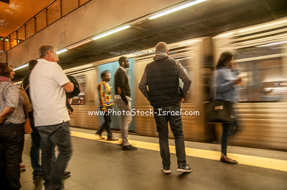 Motion blur Metro train enter Baixa Chiado subway station in Lisbon, Portugal
