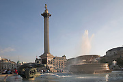 Nelson's column and fountain, Trafalgar Square, London, England