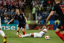July 11, 2018 - Moscow, Vazio, Russia - Ivan Perisic from Croatia and Kyle Walker from England during match between England and Croatia valid for the semi final of the 2018 World Cup, held at the Lujniki Stadium in Moscow, Russia. Croatia wins 2-1. (Credit Image: © Thiago Bernardes/Pacific Press via ZUMA Wire)