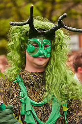 © Licensed to London News Pictures.  01/05/2014. OXFORD, UK. A student in fancy dress on Magdalen Bridge in Oxford on May Morning. Each year at 6am the Magdalen College Choir performs the Hymnus Eucharisticus, from the top of Magdalen Tower, a tradition dating back over 500 years. Around 6,000 students and local residents, some of who have stayed up all night, gather in the street below to listen. Morris dancers then perform around the city. After a number of injuries in previous years a heavy security presence stopped anyone from jumping from the bridge into the Cherwell river. Photo credit: Cliff Hide/LNP
