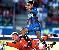 Fotball<br /> NM 2005<br /> 29.06.2005<br /> Stabæk v Fredrikstad 4-2<br /> Foto: Erik Berglund, Digitalsport<br /> <br /> Daniel Nannskog runder Steinar Sørli og scorer til 4-2